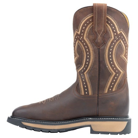 The Smith - Steel Toe, Crazy Brown, 11EE Mens Boot, Rubber YELLOW Track Image